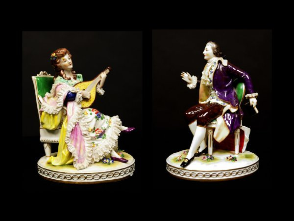 3: Two Volkstedt Dresden Porcelain Figurines