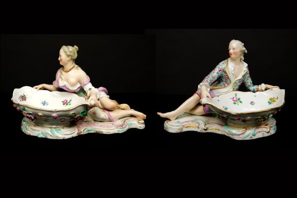 4: Pair of Meissen Figural Sweetmeat Dishes