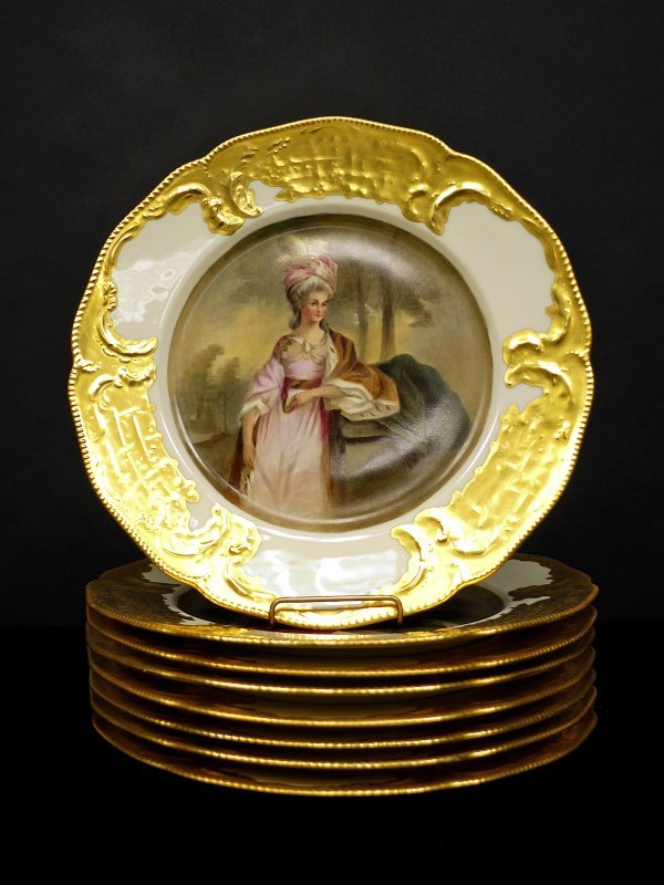 6: Eight Gold Leaf Plates marked Rosenthal Ivory