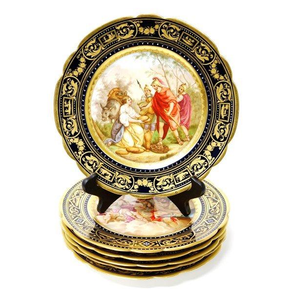 7: Six Royal Vienna Style Plates Mythological Scenes