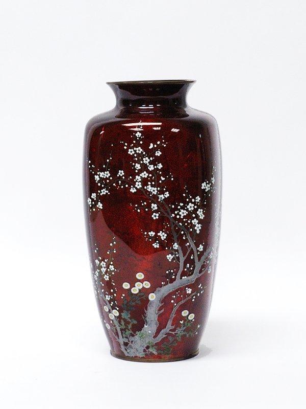 12: Japanese Tall Ginbari Cloisonne Vase Akasuke