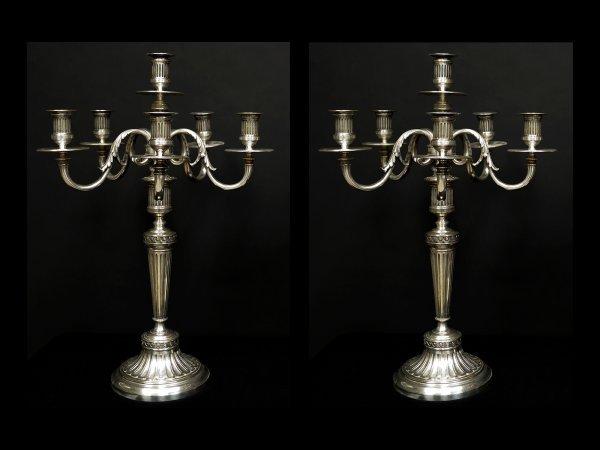 13: Pair of Christofle Six Light Candelabra