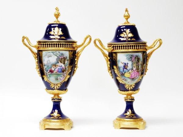 19: Pair of Renaissance Cobalt Enamel Covered Urns