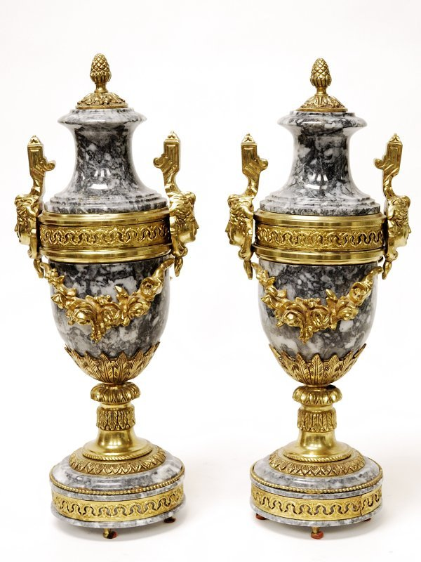 21: Pair of Marble Urns on Pedestals with Brass Figural