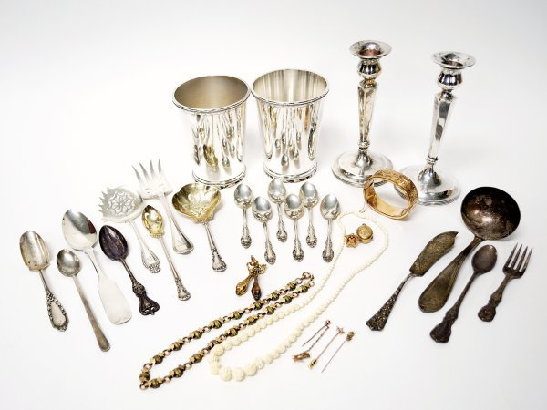 238: Lot of Sterling, Silver plate, Antique Jewelry
