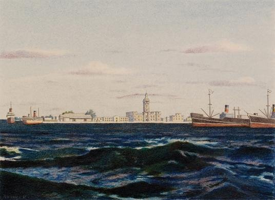 5: R VINCI KINARD The Ships, Signed Colored pencil on
