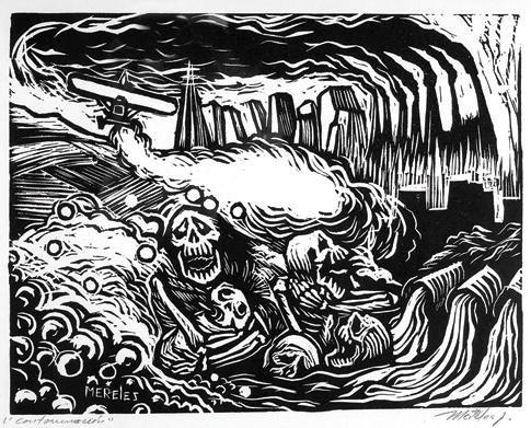 7: ALFREDO MEIRELES Pollution,Signed Linoleum cut