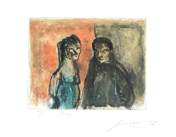 14: JOSÉ LUIS CUEVAS (Pareja) Couple Etching and aquati