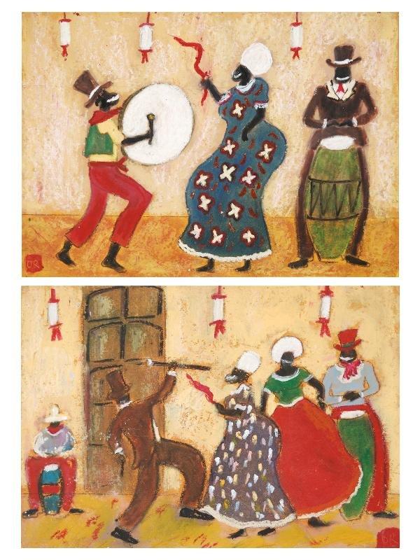 16: Octavio Rojo, Candomble Dancing, Mixed Media