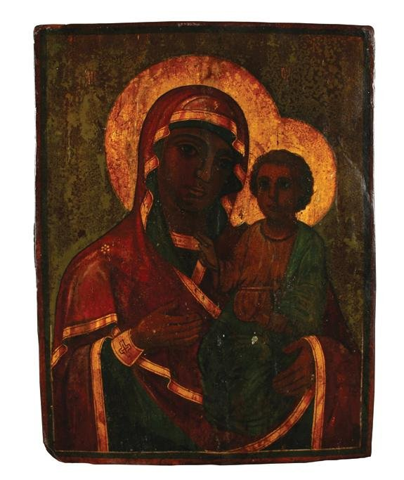 18: RUSSIAN ICON THE TICHVIN MOTHER OF GOD