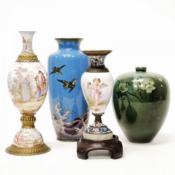 13: Lot of Four Vases; Sevres, Rookwood, Cloisonne'
