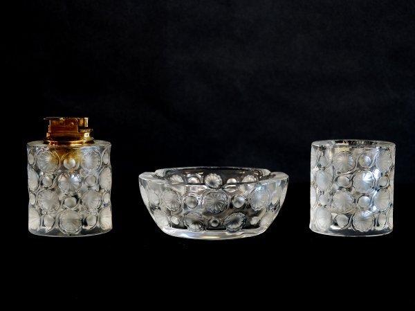 "14: Three Piece Lalique ""Tokio"" Smoke Set"
