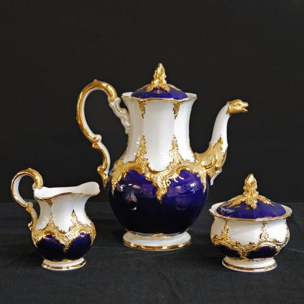 16: Gold Meissen Porcelain Teapot, Cream and Sugar