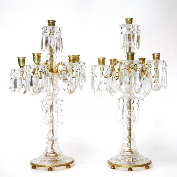 21: Pair of European Cut Crystal and Gilded Candelabra