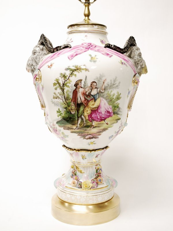 22: German Gilded and Decorated Porcelain Table Lamp