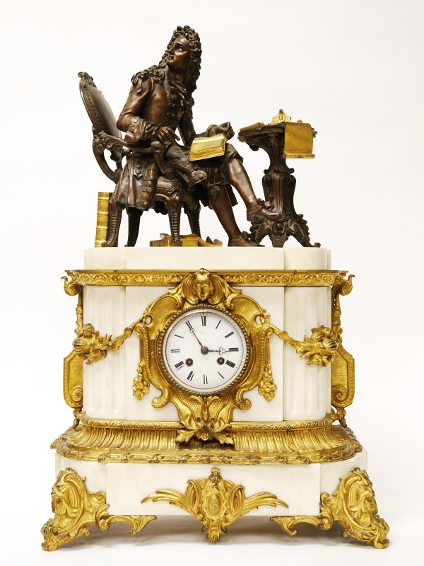 24: French Baroque Style Mantel Clock Bronze and Marble