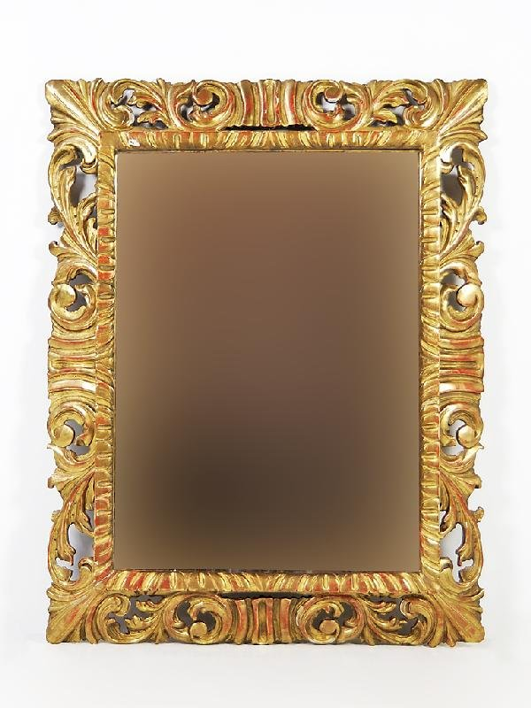 4A: Gilded, Carved Beveled Mirror; 19th Century, France