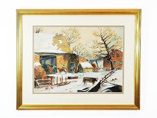 5: Framed Watercolor of Farm Scene Height: 18 in; width