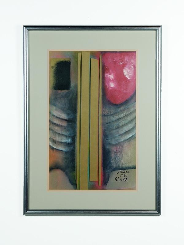 7: Joe Maseko Modern Watercolor, Framed Height 28 in; w