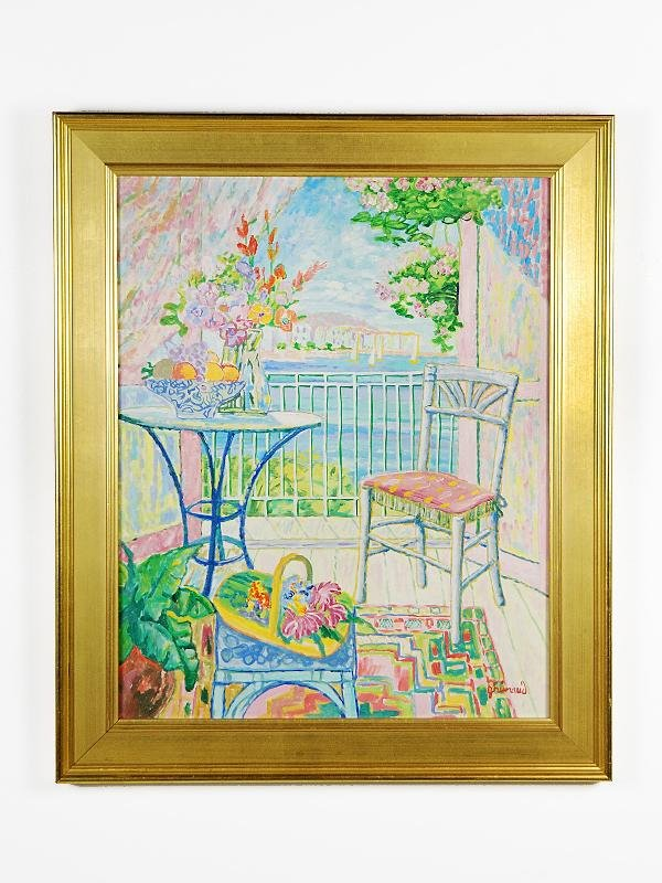 8: William Grimaud Interior Oil on Canvas, Framed Heigh