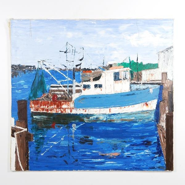 11: Will Brunson Docked Fishing Boat Oil on Canvas Heig