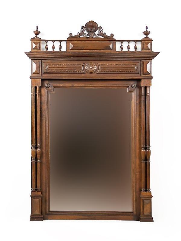 12A: Henry II Walnut Beveled Mirror; 19th Century, Fran