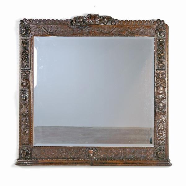 13: 19th Century Italian Mirror with Oak Frame Height 4