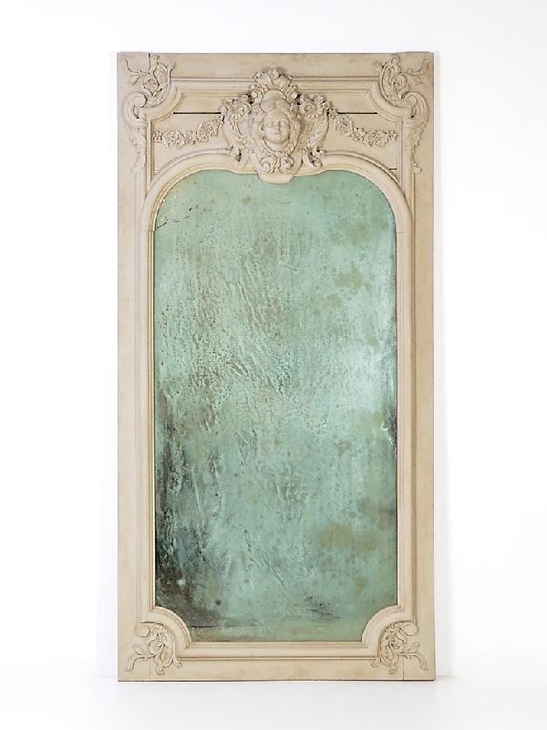 13A: Carved Wood Framed Trumeau Mirror 19th Century, Fr