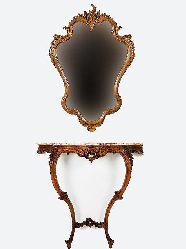 14: Louis XV Walnut Console and Mirror; 19th Century, F
