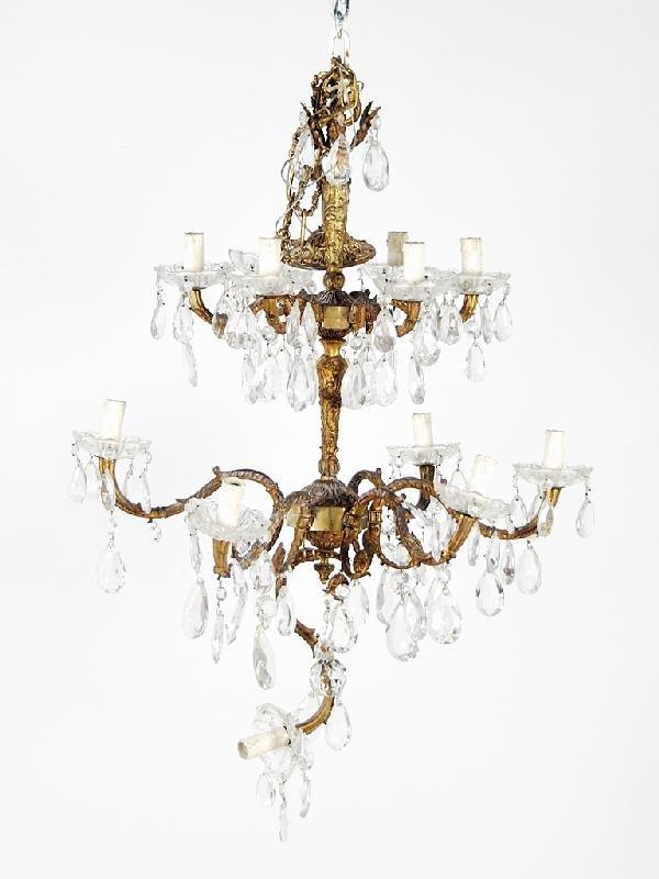 15: Bronze and Crystal Two-Tier,Twelve-Light Chandelier