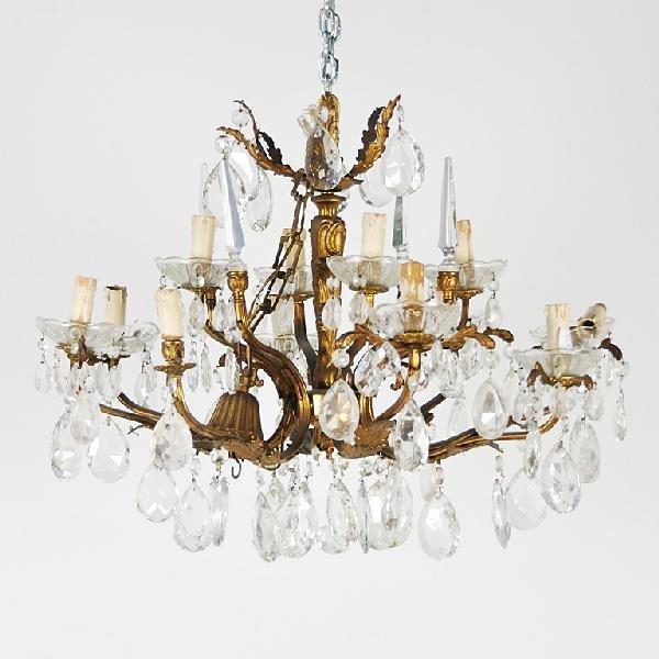 16: Bronze and Crystal Twelve-Light Chandelier Height 1