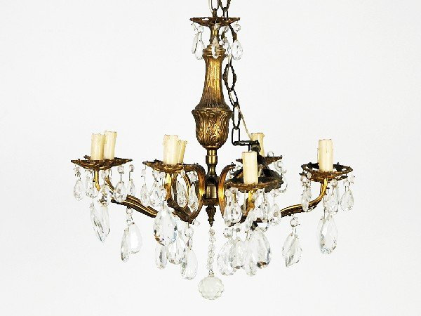 19: Bronze and Crystal Eight-Light Chandelier Height 22
