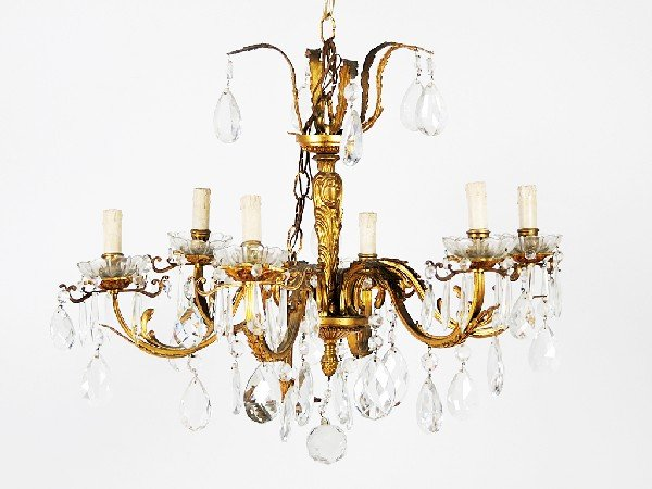 20: Bronze and Crystal Six-Light Chandelier Height 19 i