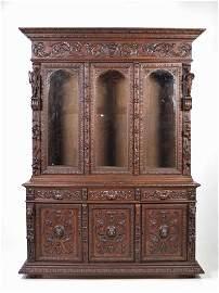141: Henry II Bookcase Original Glass; 19th C France