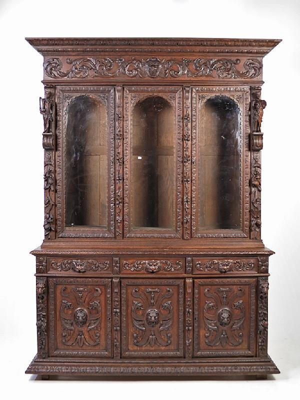 141: Henry II Bookcase Original Glass; 19th C France