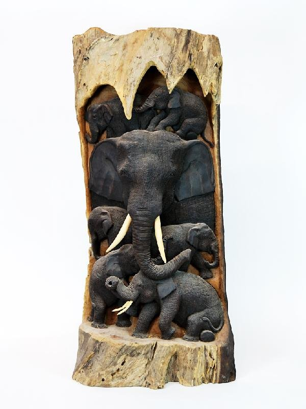1: Wood Carving of Elephants Height 35.5 in; width 16 i