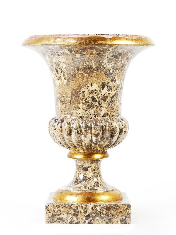 3: Faux Marble Urn Planter with Gilt Trim Height 29 in;
