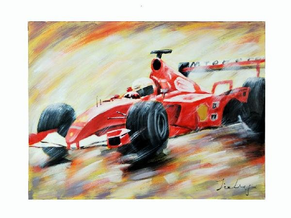 4: Painting, Race Car Height 35.5 in; width 47.25 in; d