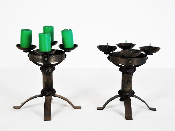 11: Iron Candlesticks, pair Height 11 in; diameter 9 in