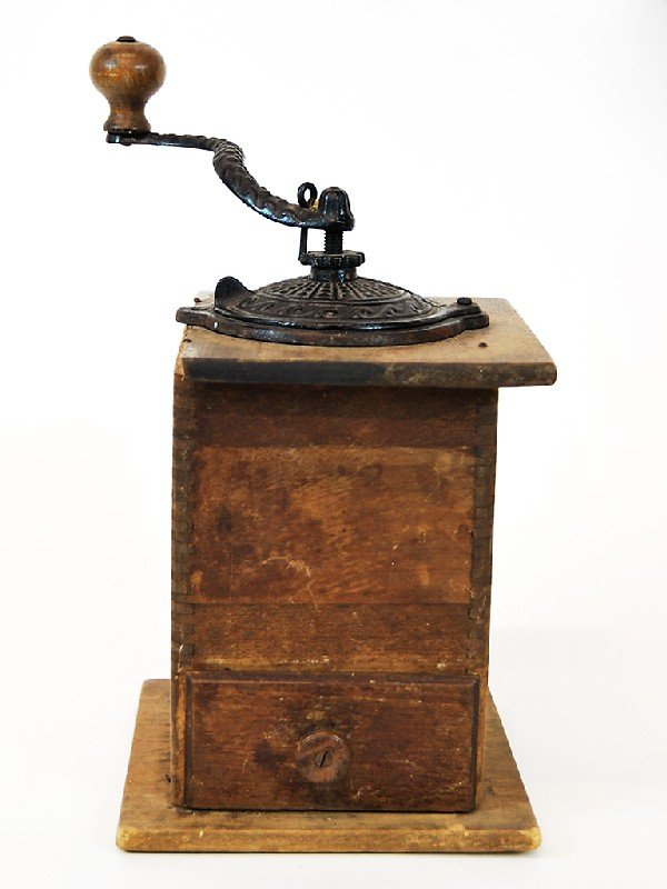 13: Antique Coffee Mill Height 11 in; width 6.5 in; dep