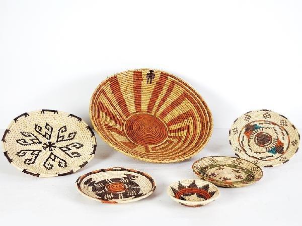 14: Six Native American Baskets Height 6 in; diameter 2