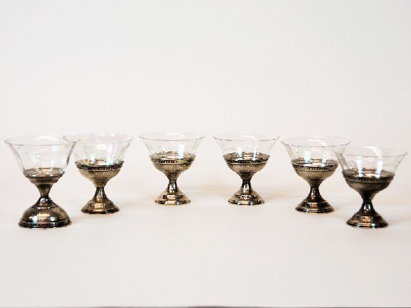 17: Six Sterling Silver and Crystal Dessert Cups with E