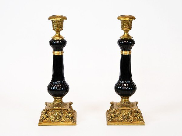 18: Pair of Bronze and Porcelain Candlesticks Height 14
