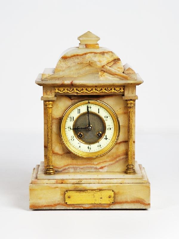 21: French Alabaster Mantle Clock; Movements read 'Japy