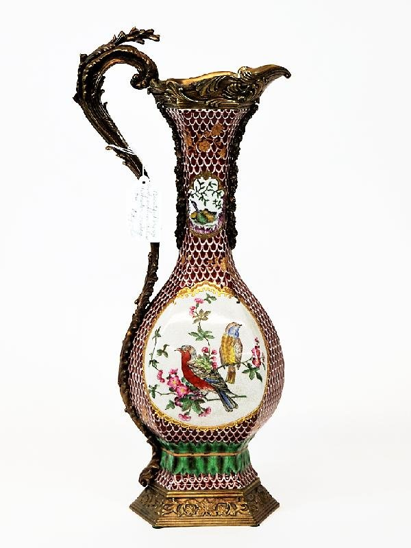 23: Porcelain and Bronze Hand painted Vase Height 21in;