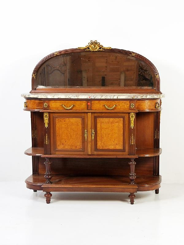 110: Louis XVI Walnut Server with marble top, beveled m