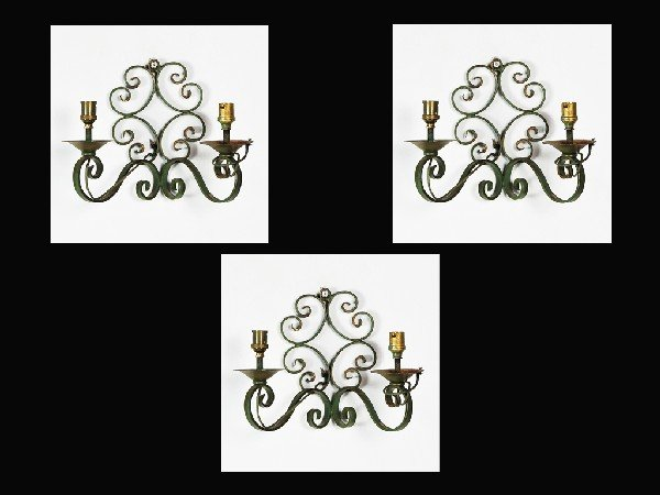 2: Three French Iron Two Light Sconces Height 9 in; wid