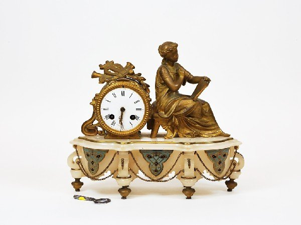 7: French Clock with Cloisonne Decoration Height 11 in;
