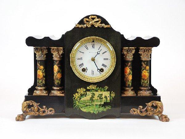 8: Seth Thomas Clock Co. Four Column Mantel Clock Adama