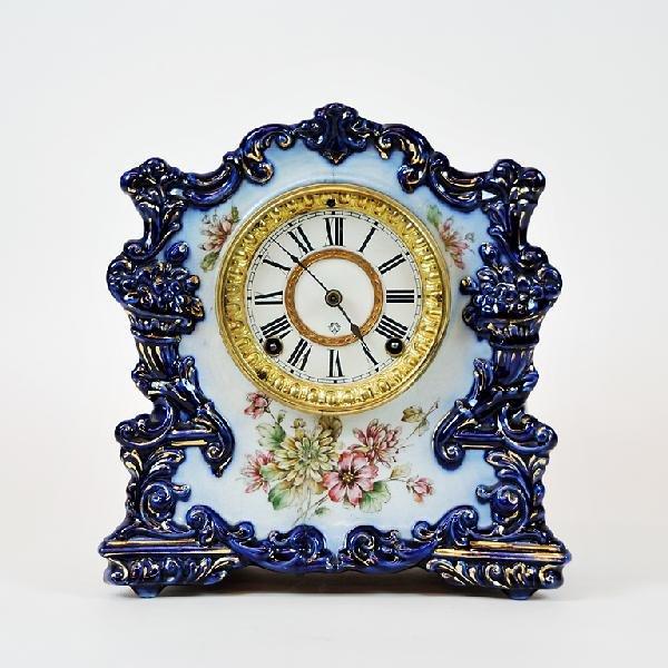 9: Ansonia Clock Company Porcelain Clock.  Painted Flow